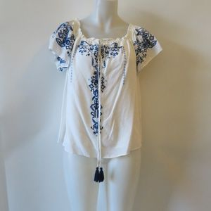 PARKER SHORT SLEEVE EMBROIDERED TUNIC TOP S *